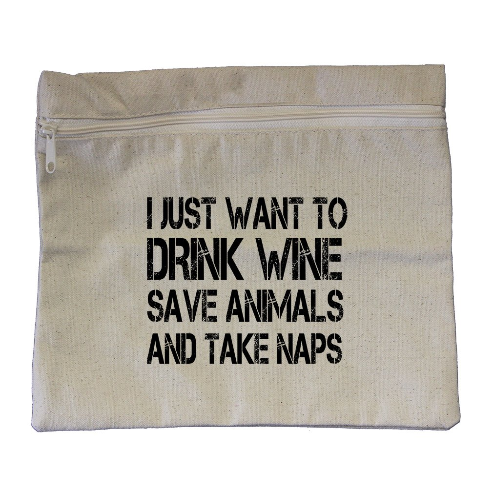I Just Want Save Animals And Take Naps Canvas Zippered Pouch Makeup Bag