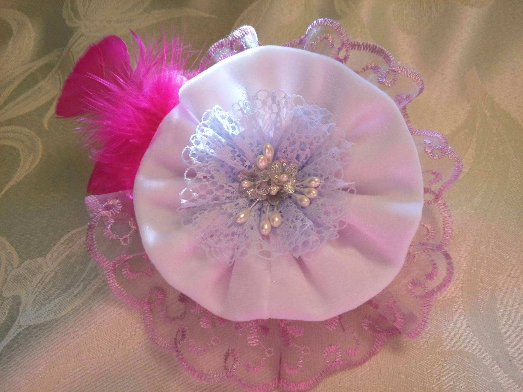 Light Purple White Velvet Lace Flower Large Brooch 6'' Bridal Sash Belt Bag by Studio SilkFantazi