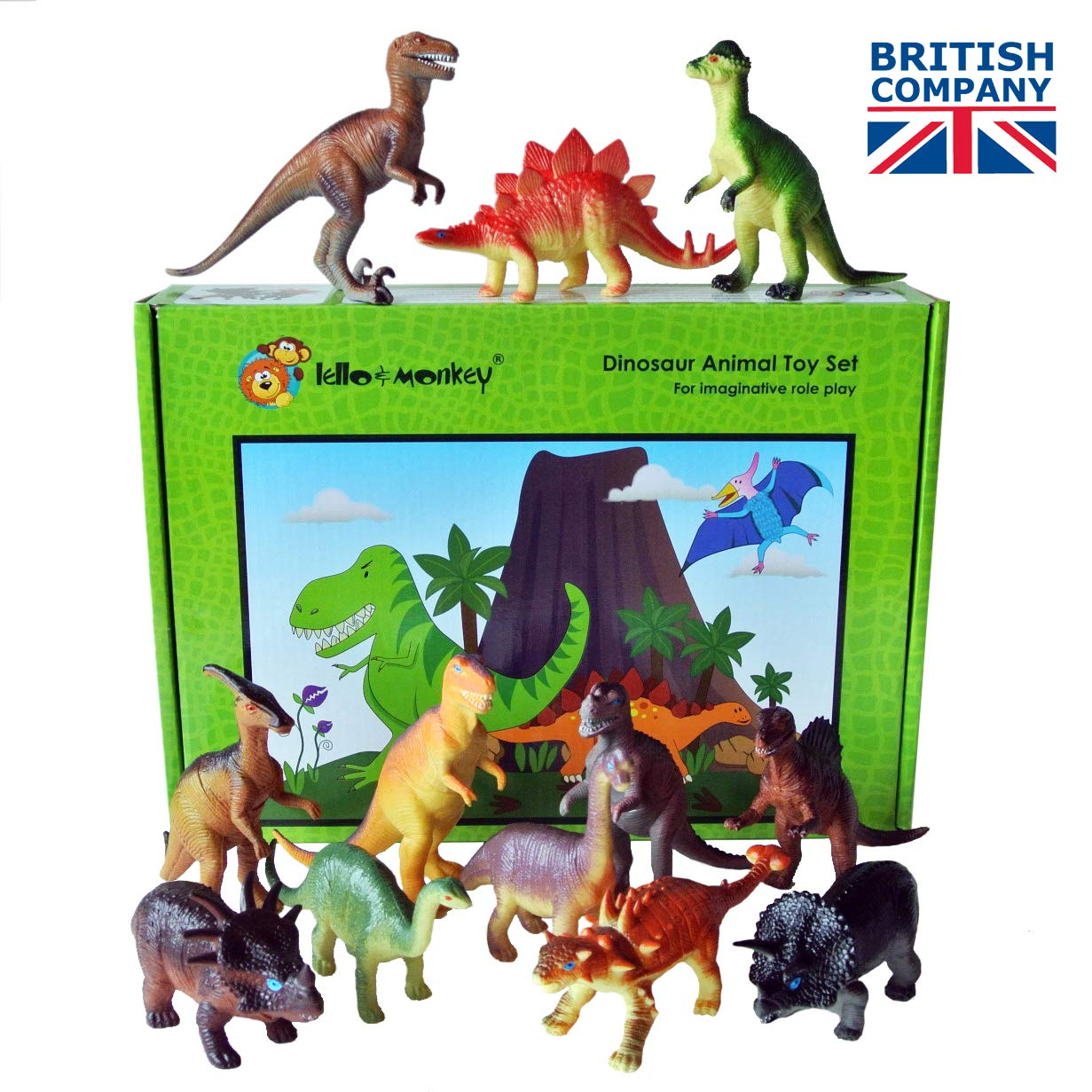 Dinosaur toys set of 12, plastic dinosaurs, dinosaur toys for boys,  toddlers, girls age 3 plus - Large set of dinosaur figures with names and  gift