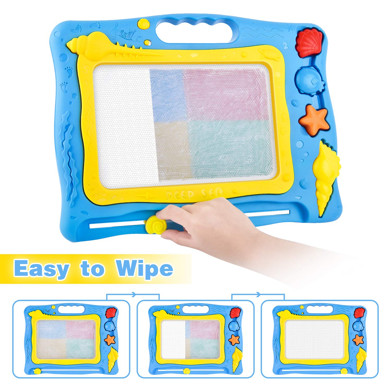 GotechoD Magnetic Drawing Board for Kids 13.4X17.5 Erasable Magna Doodle Board Drawing Doodle Magnet Toddlers Boys Girls Birthday Gift Drawing Toy Writing Sketching Doodle Pad for 3