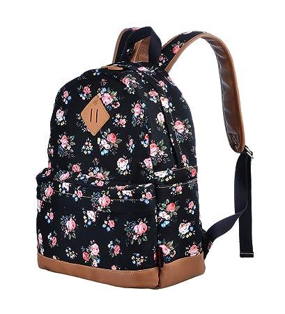 Gezu Canvas Fashion Printing School Bags for Girls Backpack Rucksack  Bookbags GZ00133 Black Peony  Amazon.co.uk  Luggage 43d2055135