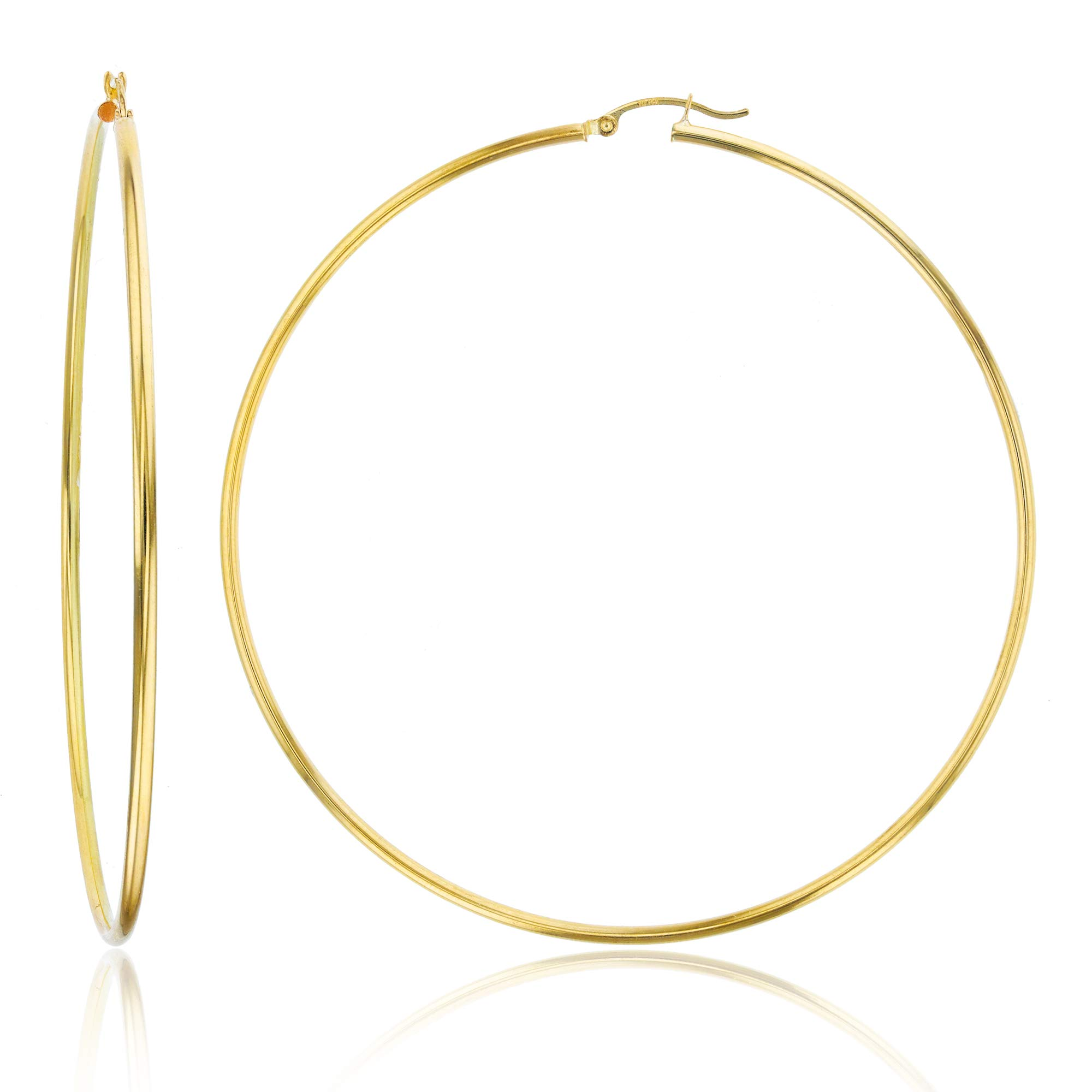 14k Yellow Gold Solid Polished Round Hoop Earrings for Women | 2mm Thick | Classic Style | Round Hoop Earrings | Secure Click-Top | Shiny Polished Earrings for Women, 2x80mm by Decadence