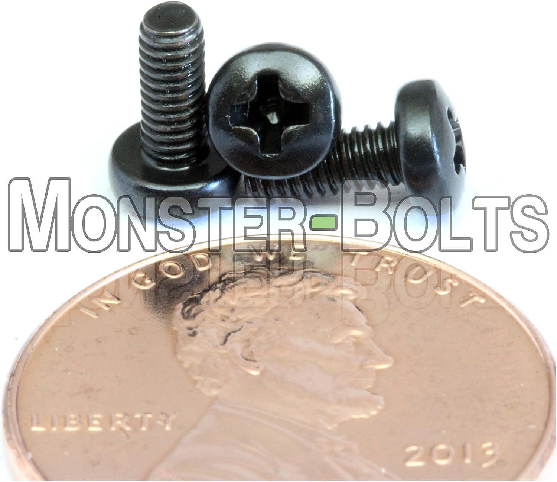 M2.5 Phillips Pan Head Machine Screws Steel w Black Oxide /& Oil DIN 7985A Metric
