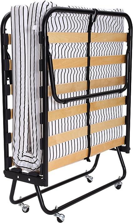 Homcom - Cama plegable (con colchón, somier y ruedas): Amazon ...