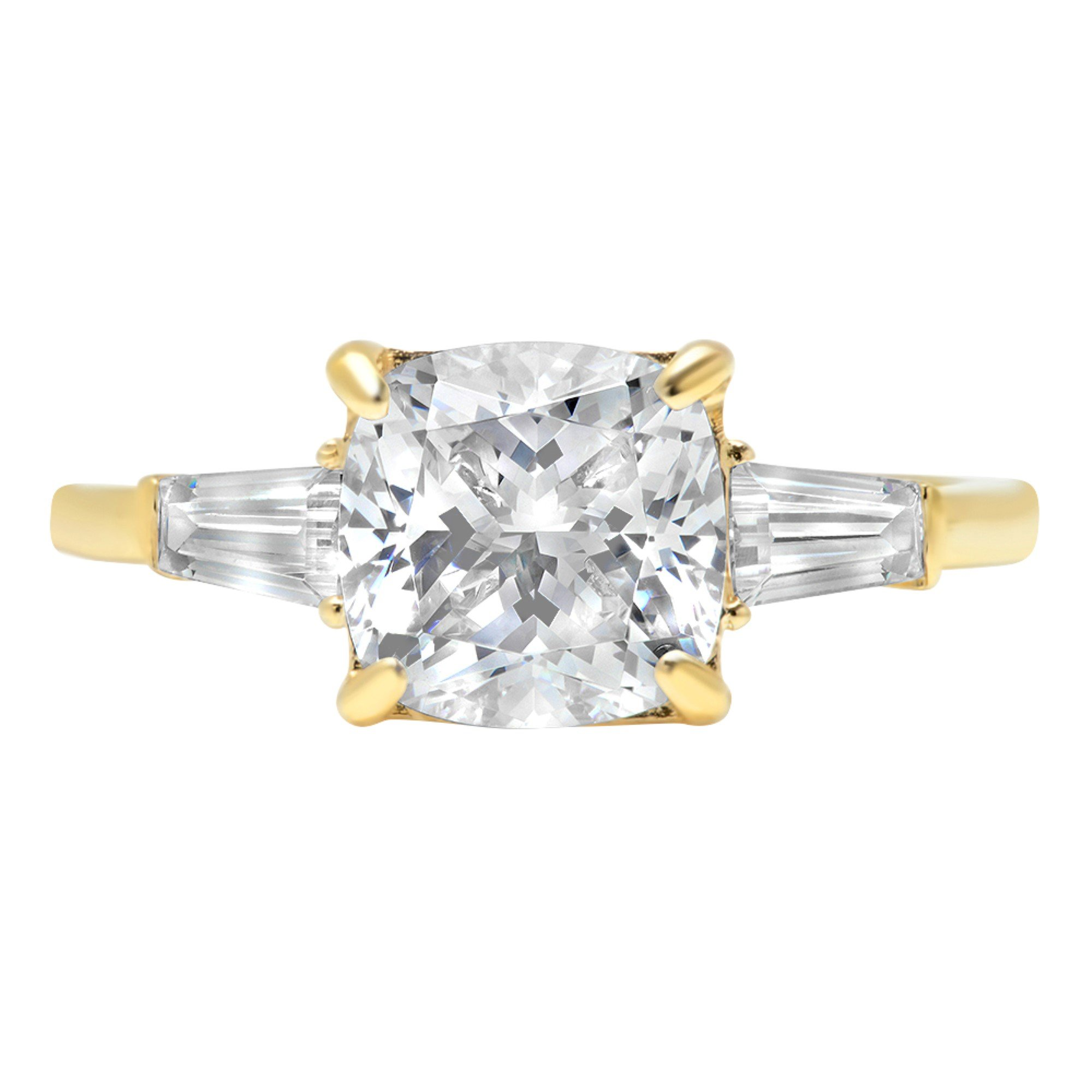 14k Yellow Gold 3.3ct Radiant Baguette 3-Stone Classic Solitaire Designer Wedding Bridal Statement Anniversary Statement Engagement Promise Ring, 7.75, 7.75
