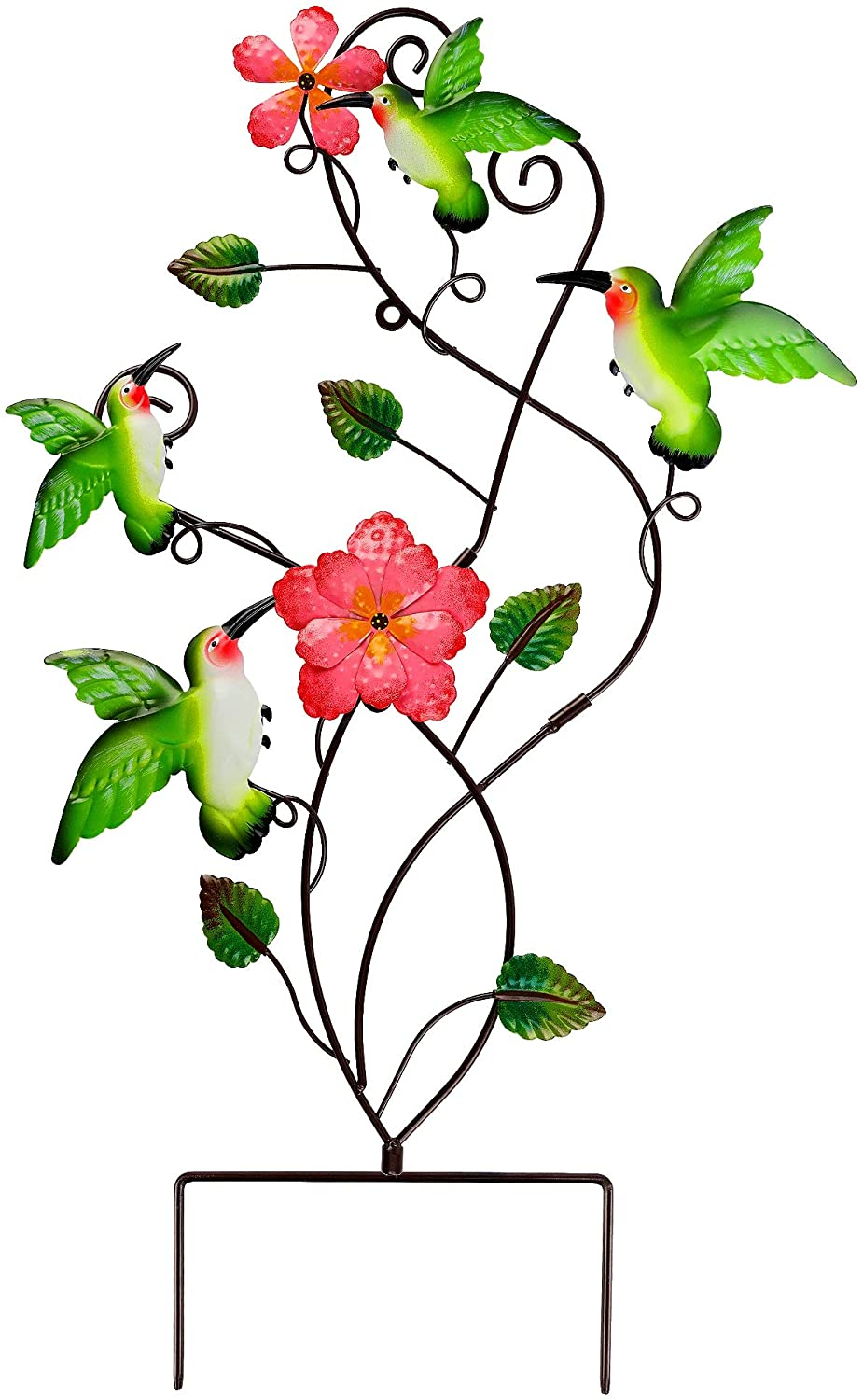 Juegoal 28 Inch Hummingbirds Garden Stake Decor, Colorful Look & Personalities Flowers Metal Wall Art Spring Decoration, Yard Outdoor Lawn Pathway Patio Ornaments