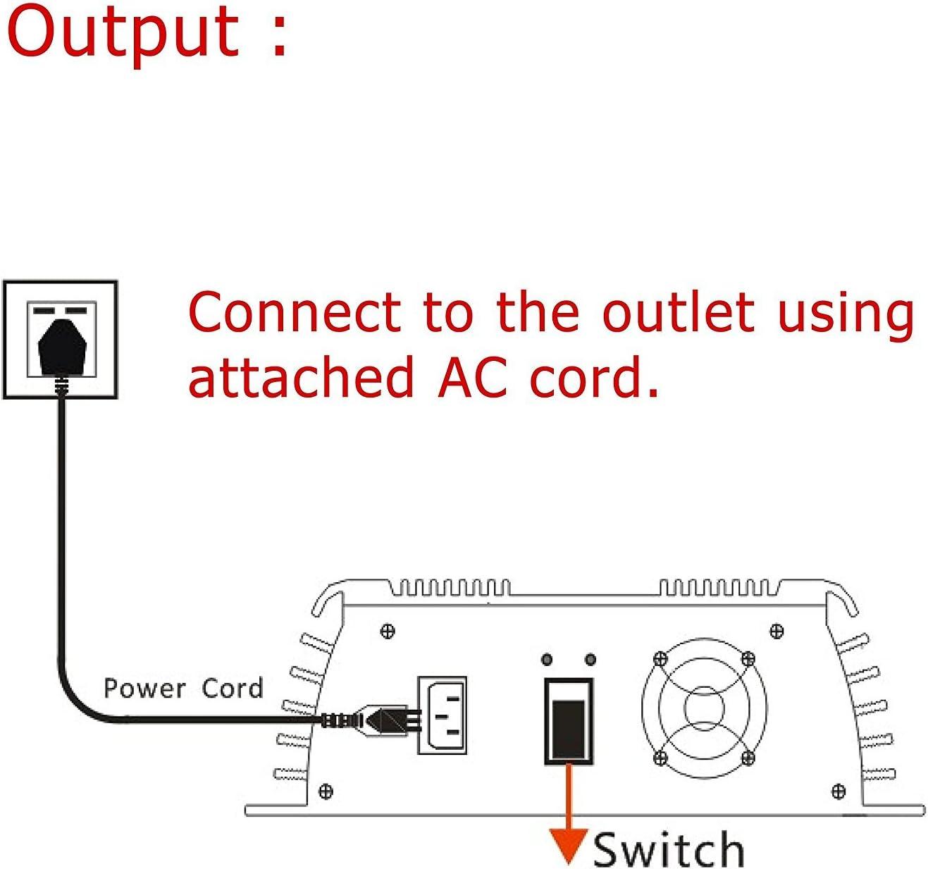 Y/&H 1000 W Rasterbinder Solareingang 30 V MPPT 36 V PV Panel Ausgang f/ür 24 V DC20-45 V Reiner Sinuswelle AC190-260 V stapelbar