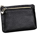 67bf47debaf727 Geldbörse Damen Leder Mini Geldbeutel Portmonee mit Reißverschluss  Kartenfächer Brieftasche für Münze Kleingeld Schwarz
