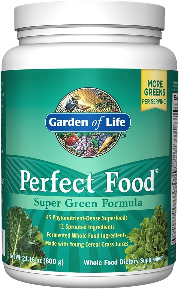 Garden of Life Perfect Food Super Green Formula - 60 Servings, 45 Superfoods, Greens, Fruit & Veggie Juice Superfood Powder Supplement, Probiotics & Organic Spirulina for Digestion & Immune Health