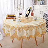 FashionMall PVC 70-Inch Round Tablecloth Waterproof Table Cover
