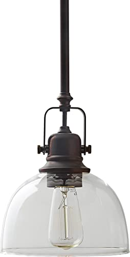 Amazon Brand Stone Beam Vintage Ceiling Pendant Lighting Fixtureand Clear Glass Shade