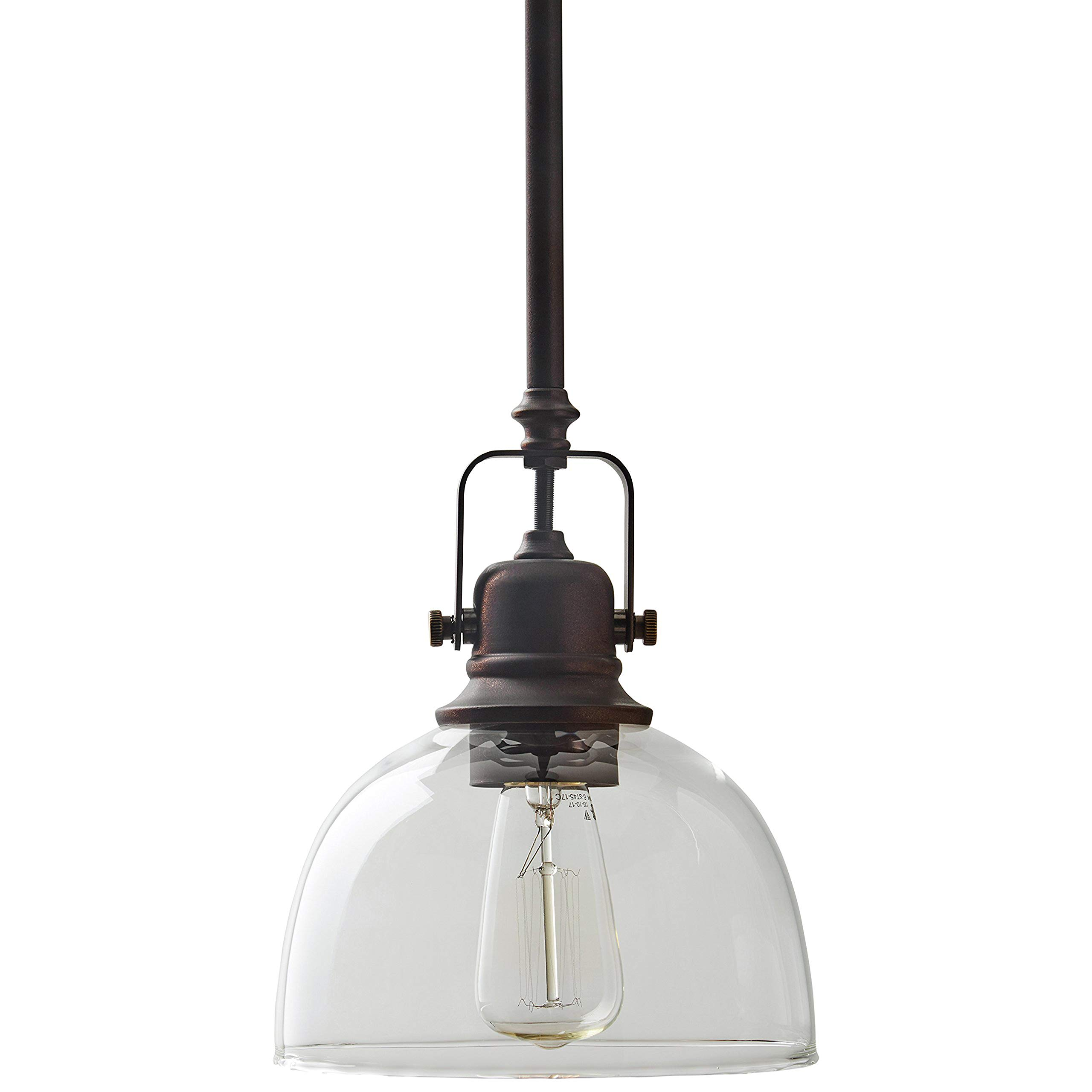 Stone & Beam Vintage Ceiling Pendant Lighting Fixture With Clear Glass Shade - 7 x 7 x 17.25 Inches, 11.75 - 59.25 Inch Cord, Oil Rubbed Bronze