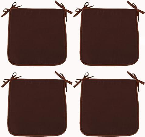Interni ed Esterni Patio Antiscivolo Cachi per casa 39cmx39cm Ristorante Quadrati Giardino Bar Set di 4 Cuscini per sedie con Lacci Smithoom