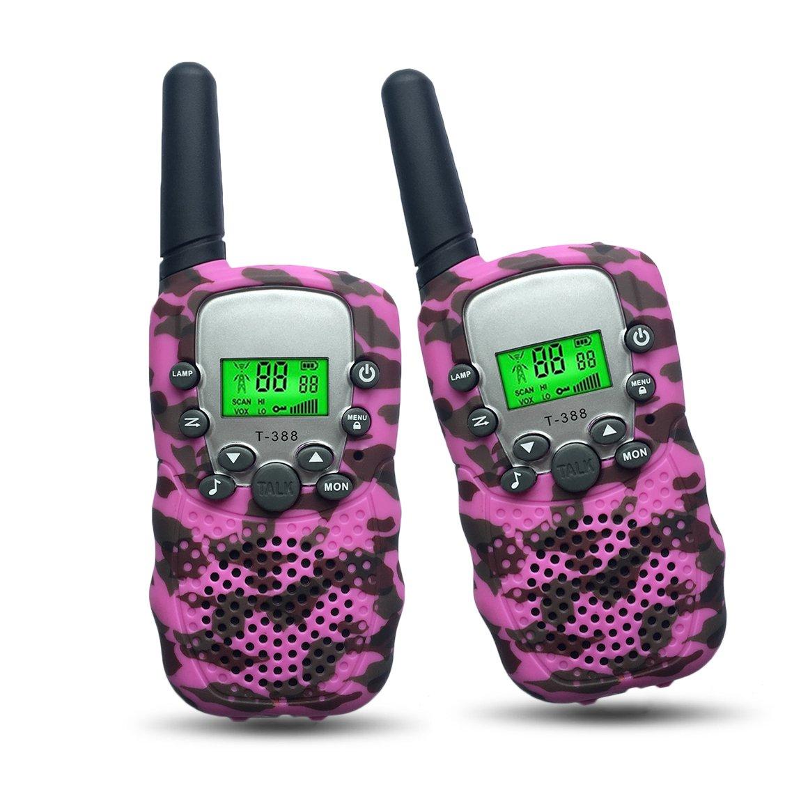 Joyfun Gifts for 4-8 Year Old Girls Walkie Talkies for Kids Pink Camo Long Distance Kids Outdoor Recreation Girl Toys Pink - 1 Pair