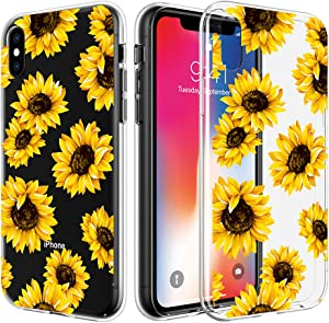 Caka Clear Case for iPhone Xs, iPhone X Xs Sunflower Case Flower Slim Girly Women Anti Scratch Premium Clarity Crystal Soft TPU Protective Case for iPhone X Xs (Sunflower)