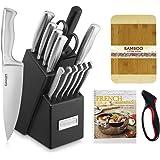 Cuisinart 15pc Stainless Steel Hollow Handle Block Set + Jokari Deluxe Knife Sharpener with Comfort Grip + Wooden Bread Board 3/4-Inch
