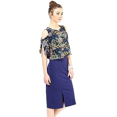 d607f993c78d6 VeniVidiVici Neon Tropical Print Slit Sleeve Cold Shoulder Top  Amazon.in   Clothing   Accessories