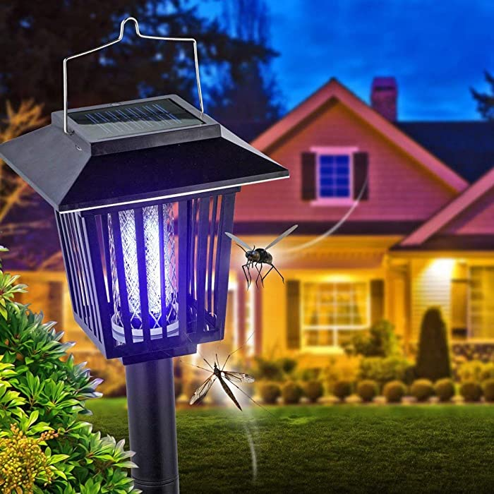 New & Improved Solar Powered Zapper- Enhanced Outdoor Flying Insect Killer- Hang or Stake in The Ground- Cordless Garden Lamp- Portable LED Machine- Best Stinger for Mosquitoes/Moths/Flies (Black)
