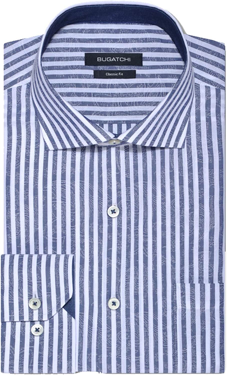 Navy Bugatchi Mare Stripe Classic Fit Long Sleeve Button Up Sport Shirt