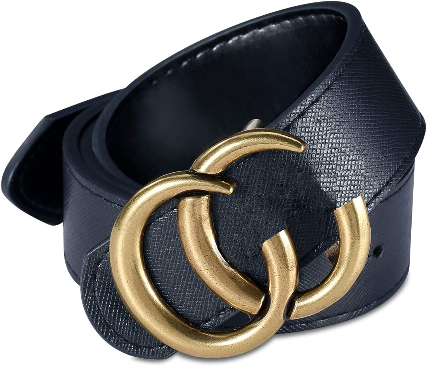 Women//Mens Fashion Leather Metal gold Buckle Unisex Casual Business Belt