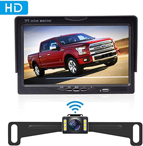 Amtifo Wireles Backup Camera Kit,HD 720P 7 Inch Monitor With Rear View Camera Designed For Cars,SUVs,Minivans,Pickups