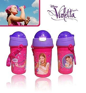 Botella Violetta 500 ml cordón para portarla a correa apertura push con pajita 80209. Media Wave Store®, fucsia: Amazon.es: Deportes y aire libre