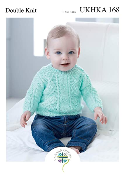 bac42b17c4f5 Double Knitting Pattern for Baby Cabled Detail Sweater   Long or ...