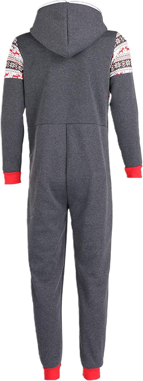 Jumpsuit Overall Herren Winter Jogging Anzug Hirsche Bedruckt One Piece Rei/ßverschluss Trainingsanzug mit Kapuze und Tasche