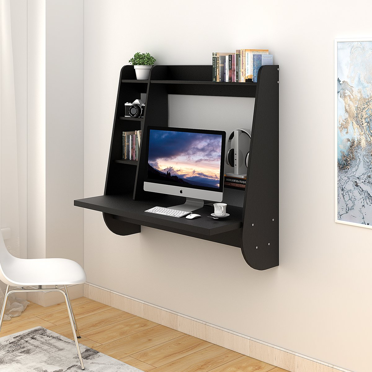 Wall Mounted Floating Desk with Storage (Black)