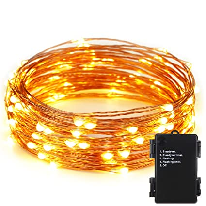 ER CHEN(TM)Indoor And Outdoor Waterproof Battery Operated 100 LED String  Lights On