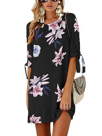 7f5e4a329b3c YOINS Sommerkleid Damen Tshirt Kleid Rundhals Kurzarm Minikleid Kleider  Langes Shirt Lose Tunika mit Bowknot Ärmeln