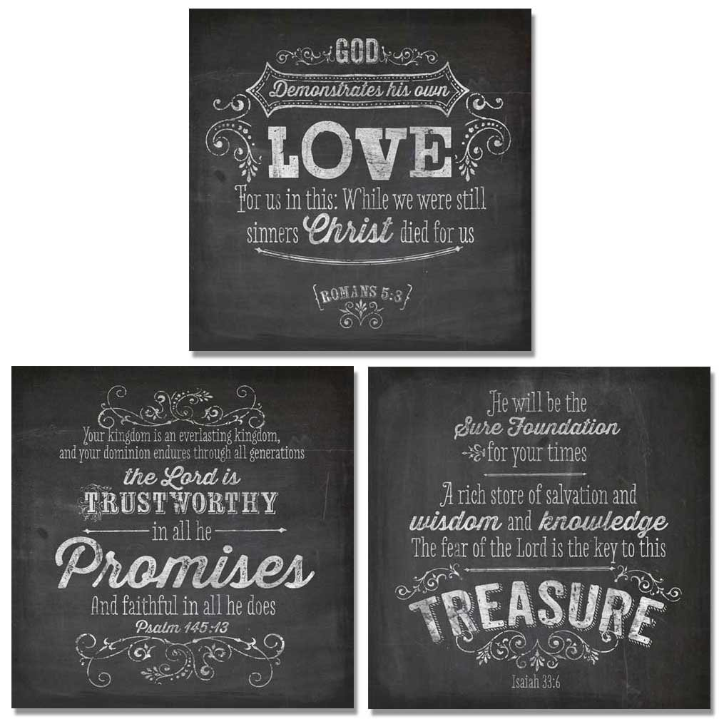 Amazon 3 Chalkboard Inspirational Christian Art Prints Treasure Promises Love Quotes 12x12 Quote Posters Christian Posters & Prints