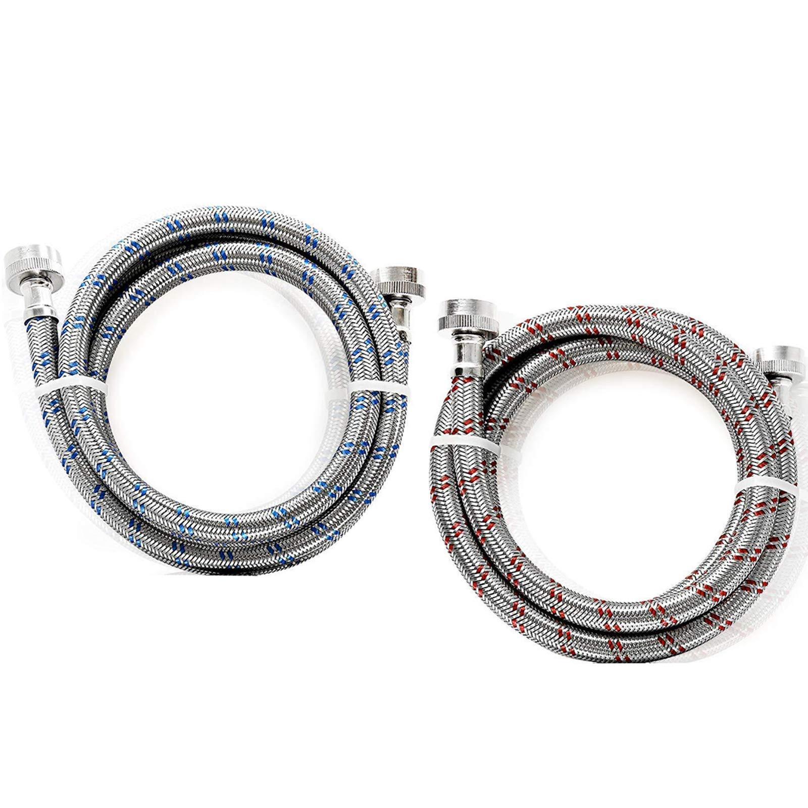4yourhome Stainless Steel Extra Long Premium Washing Machine Hoses, 6 Ft Burst Proof (2 Pack) Red and Blue Marked Water Supply Lines by 4 Your Home