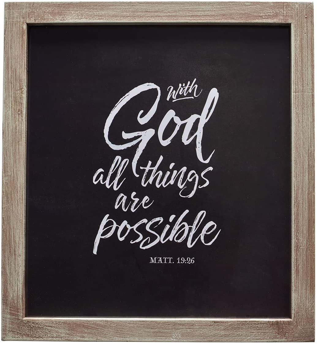 Christian Art Gifts With God All Things Possible - Matthew 19:26 Wall Plaque