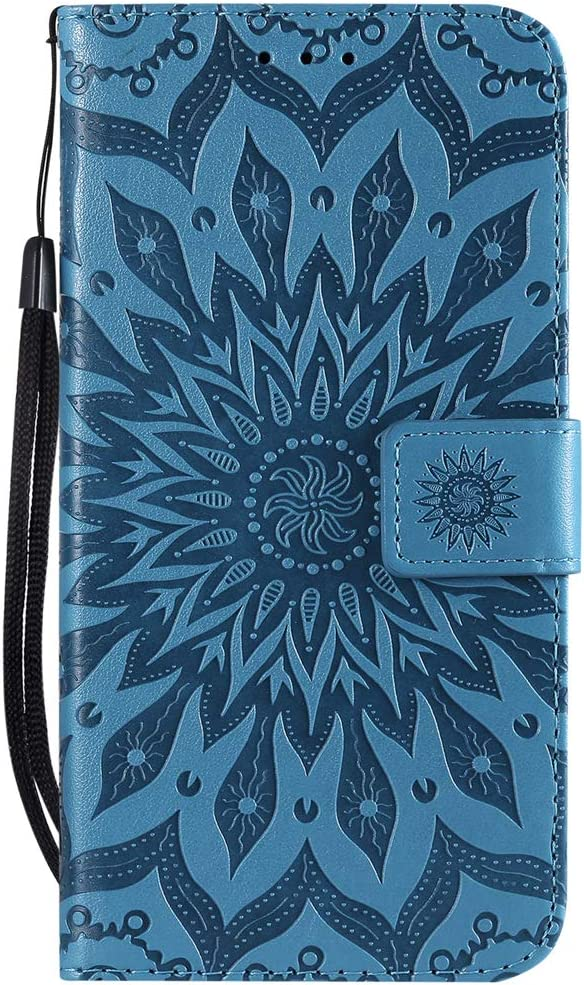 Shockproof PU Leather Flip Case Cover Notebook Wallet Embossed Sun flower with Stand Card Holder Soft TPU Bumper Protective Skin Case,Blue Vagenno Huawei P Smart 2019//Honor 10 Lite Case