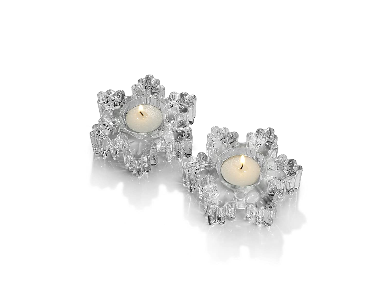 Mikasa Clear Glass Snowflake Votive Candle Holder - Set of 2