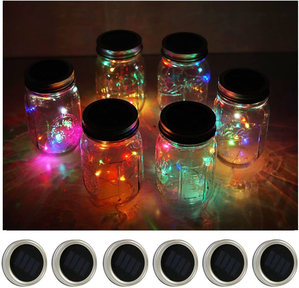 6 Pack Mason Jar Lights 10 LED Solar Multi-Color String Lights Lids for Patio Yard Garden Party Wedding Christmas Decorative Lighting Fit for Regular Mouth Jars(Jars Not Included)
