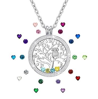 5718007011e5 Amazon.com  KIM S Gift for Mom Family Tree of Life Floating Charm ...