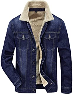 ae72d04d1d9 HOW'ON Men's Plus Cotton Warm Fur Collar Sherpa Lined Denim Jacket Button  Down Classy