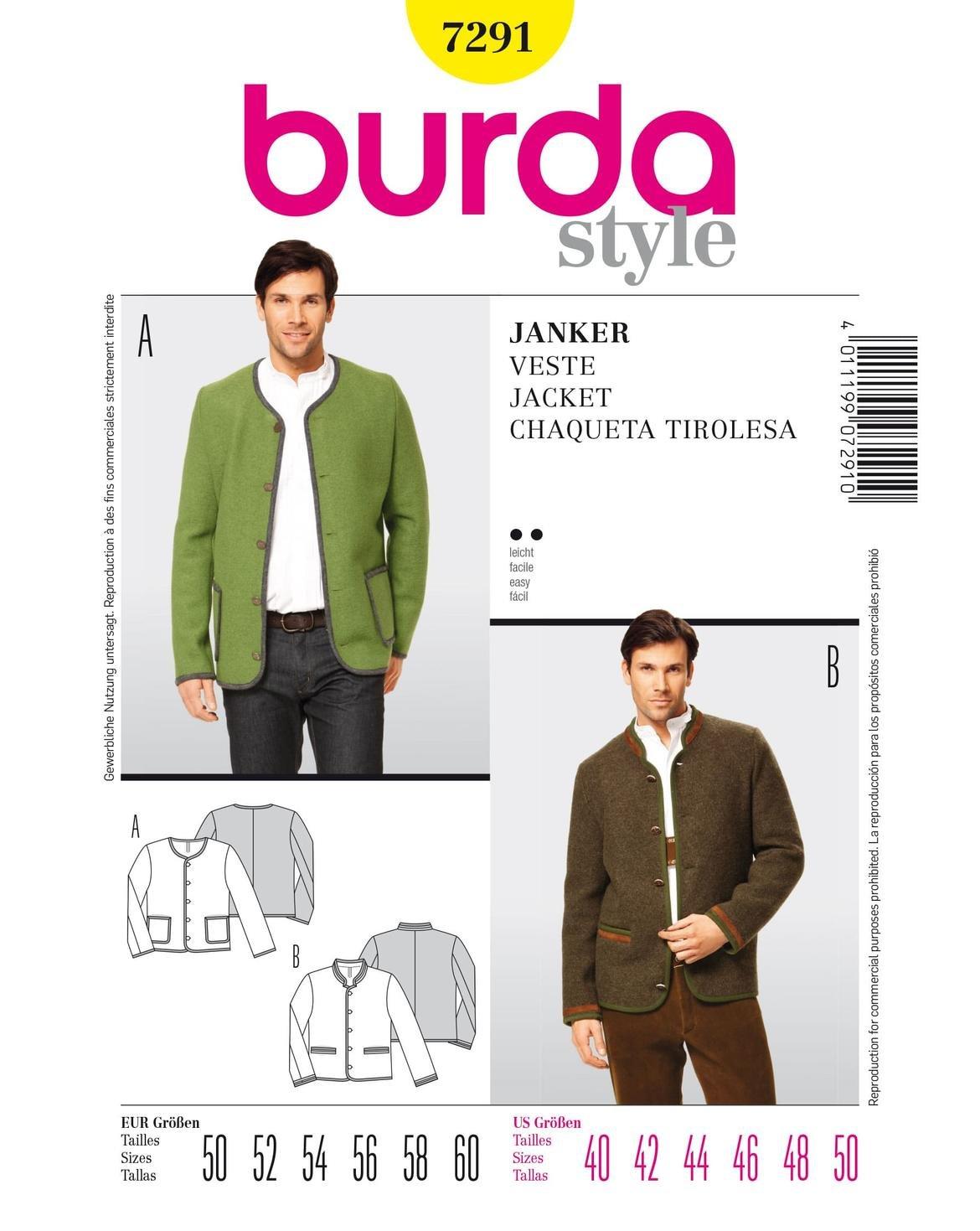 Burda patrón de costura para chaqueta de hombre 7291 talla 50-60 B7291