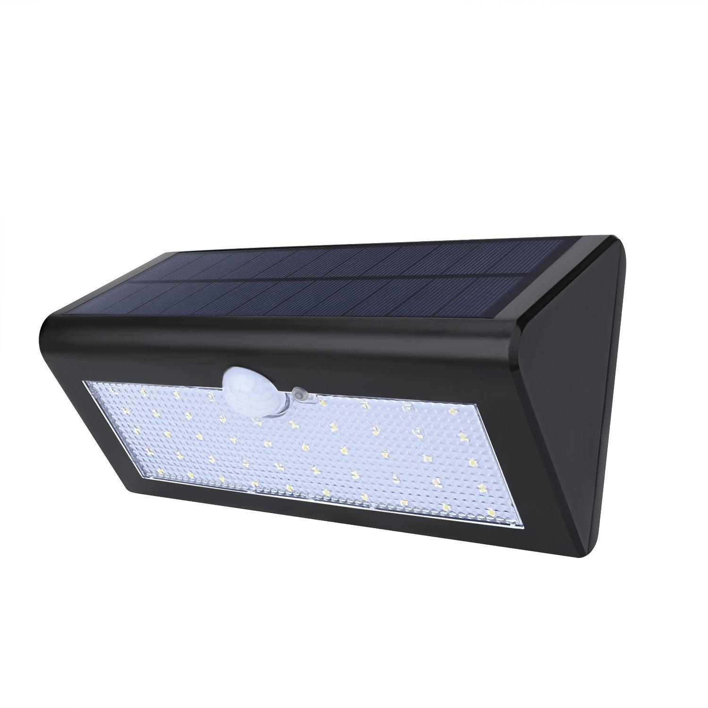Apliques de Pared Lámparas Solares Farolas Jardín Ultra Brillante 34 LEDs 450 Lúmenes Focos LED Exterior Impermeable IP65 con 4 Modos de Iluminación y Sensor de Movimiento para Jardín Patio Camino Escaleras Balcón Porche Calzada Cerca Avenida Muro Exterio