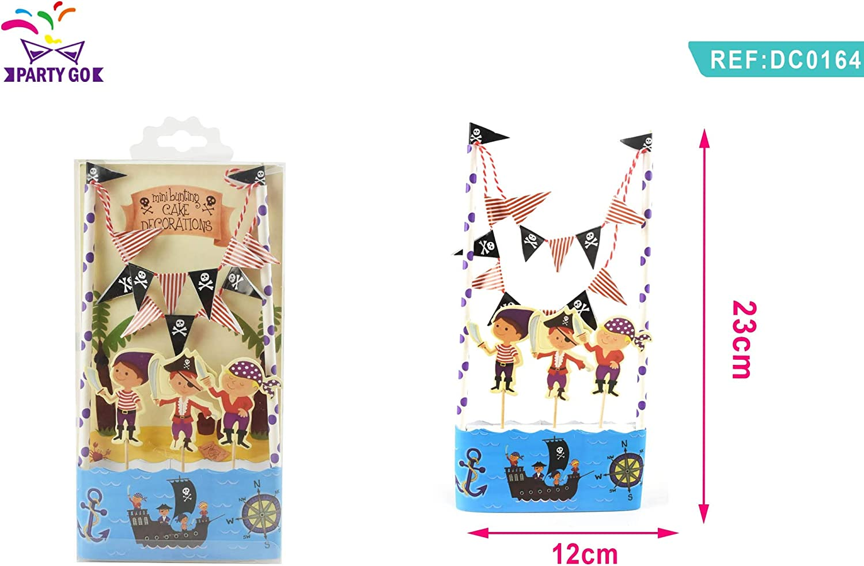 PartyGo Set Decorazioni Torta Pirati Picks Personaggi Bandierine Girotorta Cake Topper DC0164