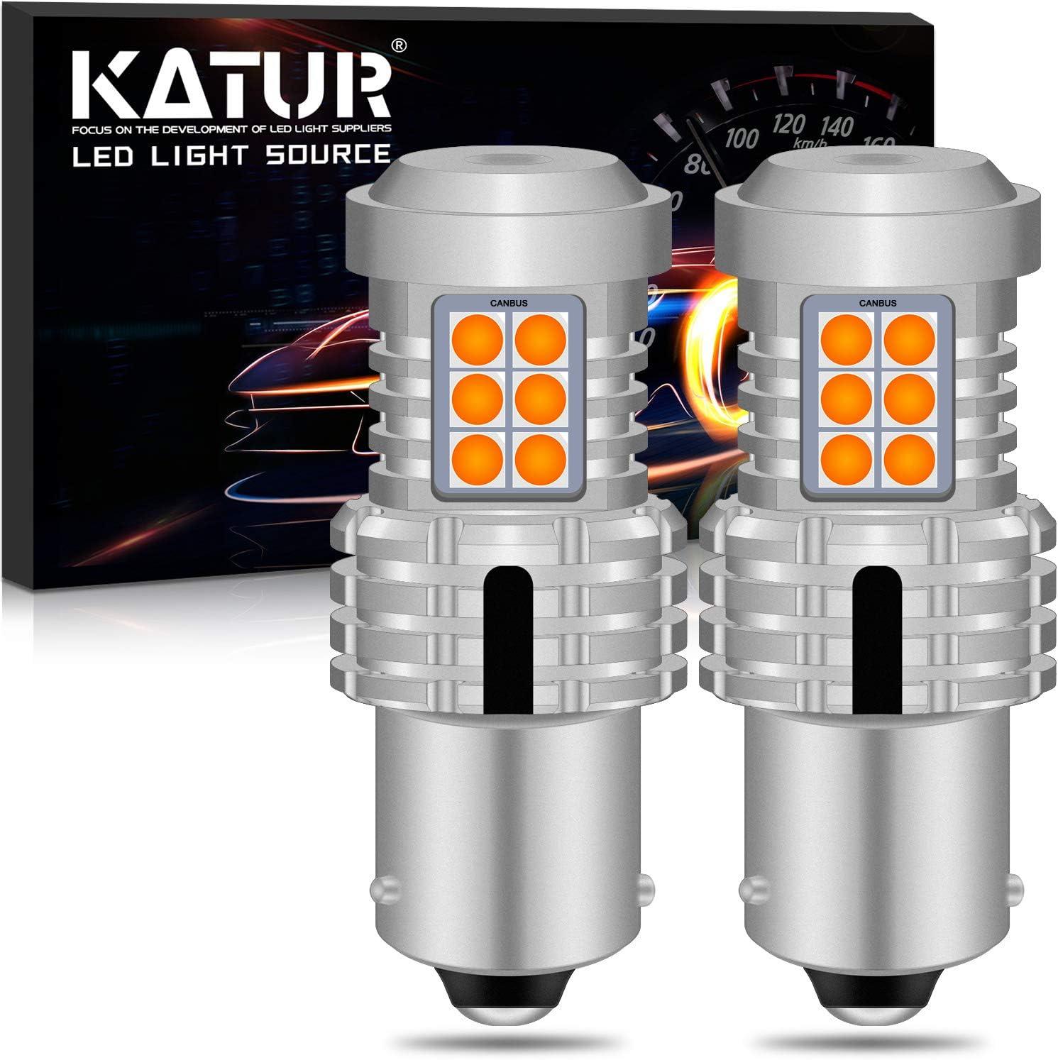 KATUR BAU15S PY21W 7507 Bombillas LED Superbrillantes 12pcs 3030 y 8pcs 3020 Chips Canbus Error Señal de Giro Libre Freno Trasero Cola de estacionamiento Luces,Ámbar Amarillo(Paquete de 2)