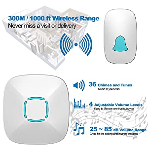 Doorbell, Lovin Product Waterproof Wireless Doorbell Chime Kit with 36 Chimes & Adjustable Volume; 1000ft Operating, with Sound & LED Flash Door Bell for Home (2 Receiver& 1Push Button) (Color: 2 Receiver& 1Push Button)