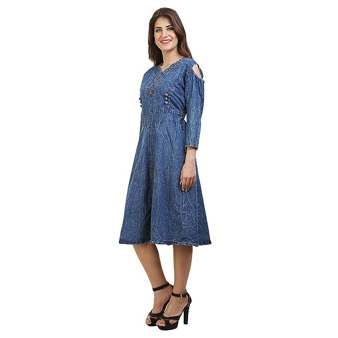 ba7b6a4d010 FRANCLO Women's Cold Shoulder Denim Knee Length Dress (Best fit 34-36 Bust)