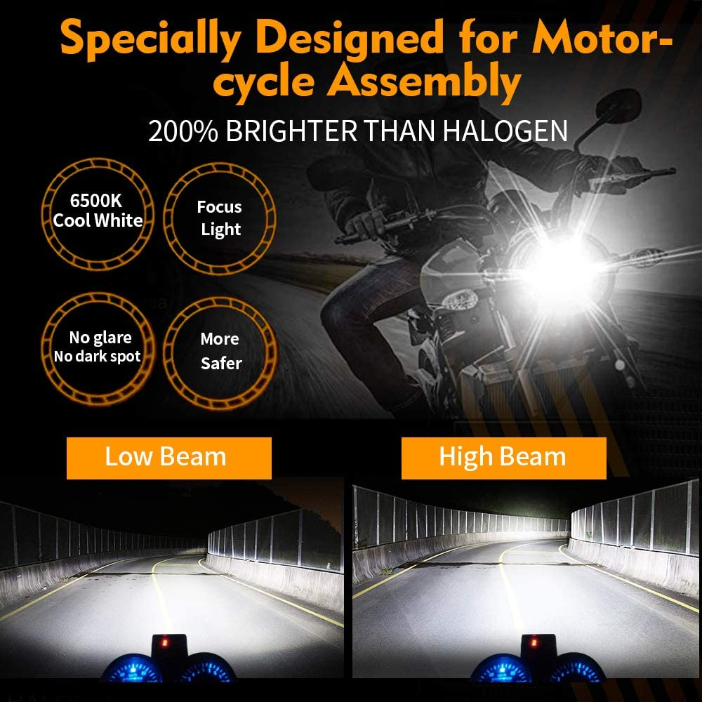 3600 Lumens Hi//Lo Beam 6500K Extemely Bright Xenon White Bulb IP67 Waterproof All-in-one Plug and Play Conversion Kit OPL5 H4 LED Motorcycle Headlight Bulb 1 PCS