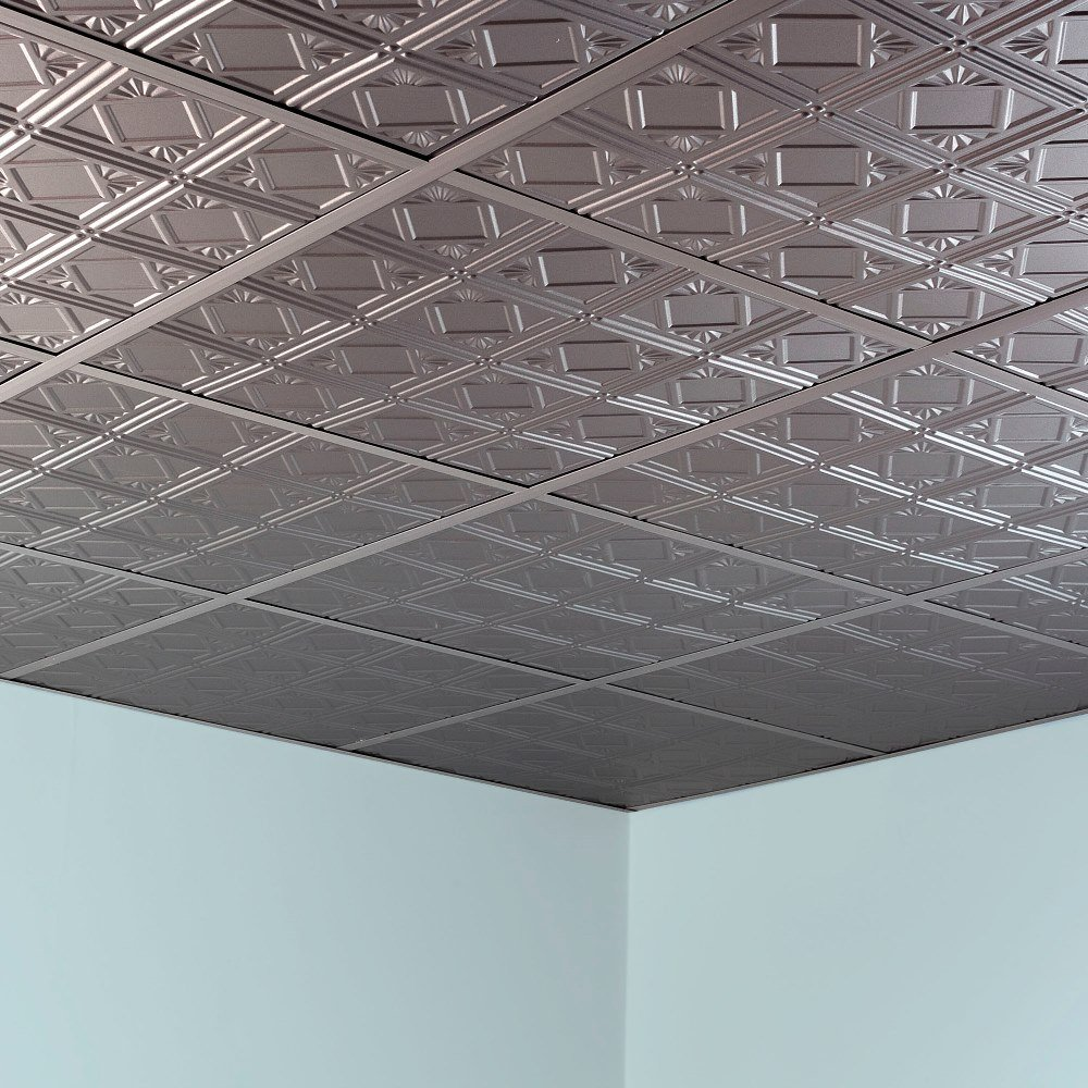 Fasade Easy Installation Traditional 4 Brushed Nickel Lay In Ceiling Tile / Ceiling Panel (2' x 2' Tile) by FASÄDE (Image #3)