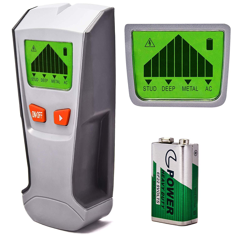 pile 9/&nb AC Live /Trouve en m/étal grand /écran LCD et alerte BIP sonore profond c/âbles et tuyaux bois /à tige Finder murale scanner d/étecteur de fil/ calibrage automatique fonction de d/étection