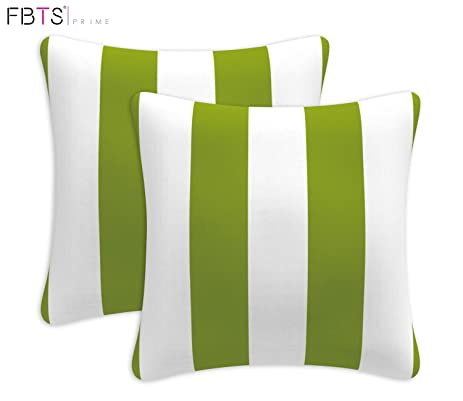cushion covers plus pillow inserts 18x18 fbts cotton linen square throw pillowcase set of 2 stripe