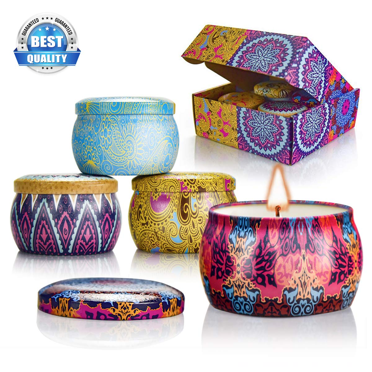 Scented Candles Gift Sets, Natural Soy Wax Aromatherapy Candles Portable Travel Tin Candles Women Gift with Fragrance Essential Oil, 4.4Oz 25 Hour Burn Time Per Candle for Bath Yoga Home 4 Pack